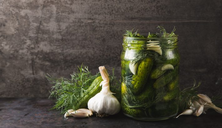 Pickled cucumbers in a glass jar